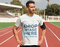 Athletic Man Exercising on a Track Field T-Shirt Mockup