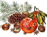 New Year postcards in botanical art style