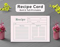Free Pale Red Recipe Card Template