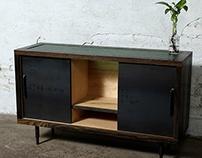 Gerogian Green Glass and Oxidized Oak Sideboard