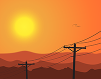 Sunset and Powerpoles