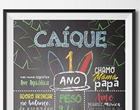 Chalkboard de aniversário para Caíque