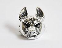 Kitsune mask pendant