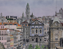 Praça Almeida Garret, Porto (Portugal). Watercolour.