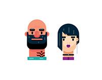 Flat Design Portraits, Man and Woman Illustration