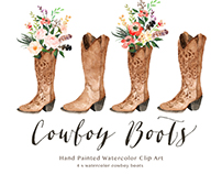 Watercolor cowboy boots