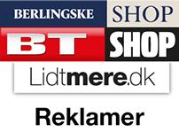 B/BT Shop og Lidtmere reklamer