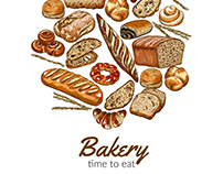 Bakery. Vector hand drawn illustrations.