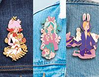 Magicians Illustration and Enamel pins concept