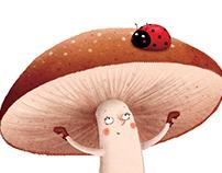 Mushroom and ladybug
