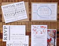 Summer in Maryland: Newspaper Wedding Invitation Suite