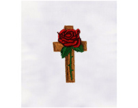 BEAUTIFUL RELIGIOUS CROSS WITH ROSE EMBROIDERY DESIGN