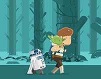 Star Wars - Luke, Yoda & R2D2 in Dagobah - Animated Gif