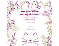 Kitten Floral Birthday Invite