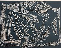 Dwell | printmaking woodcut