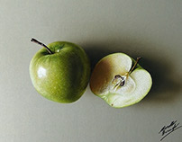 A green apple and a half - drawing