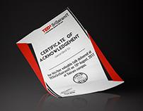 Certification for TEDxSriSairamIT