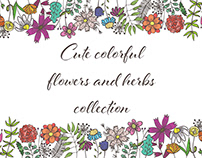Cute doodle flowers and herbs collection