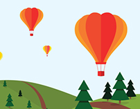 Hot air balloons above fir fields.