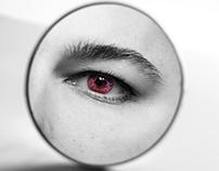 Purple eye in the mirror