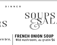 Lunch and dinner menu design, New Hartford restaurant