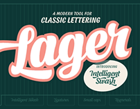 Lager font family - Featuring Intelligent Swash