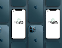Pacific Blue iPhone 12 Pro Max Mockup 2
