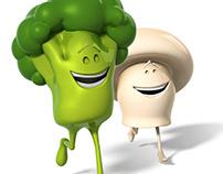 Mr. Broccoli & Mrs. Champignon - Bonduelle characters.