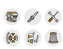Set of Icons for car parts seller