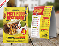 Restaurant Menu Tent Card PSD Template