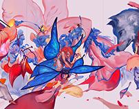 Red Drops, triptych. Digital Illustration.
