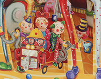 Clowns swing card for Santoro Graphics