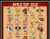 World Cup Russia 2018 National Team Mascots