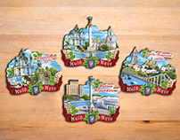 Kyiv souvenir magnets collection