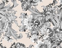 AW16 Lime. X-ray flowers pattern