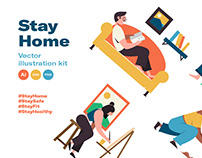Stay home - vector illustration kit