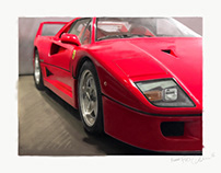 Drawing of a Ferrari F40