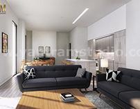 Open Kitchen living room interior rendering ideas