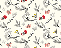 Eastern Leaves Wrapping Paper Pattern