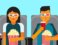 Couple watching movie vector illustration