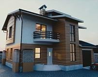 Wooden House Exterior Scene