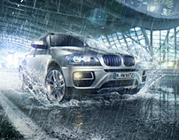 BMW X6 in the rain