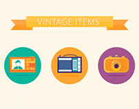Vintage items icon design