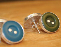 Button Earrings (Bezel Set)