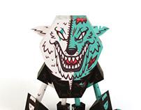 Split wolf - Papertoy