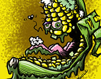 """Cracked Corn"" Lowbrow Food Cartoon Character"