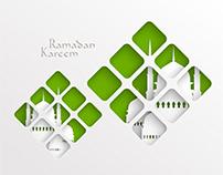 Vector paper cutting graphics ramadan typography