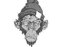 Sketch, illustration of a monkey