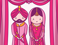 Sikh Wedding Invitation - Cute Couple Collection