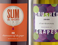 Slim & Son and Crushed Grapes Wine Labels